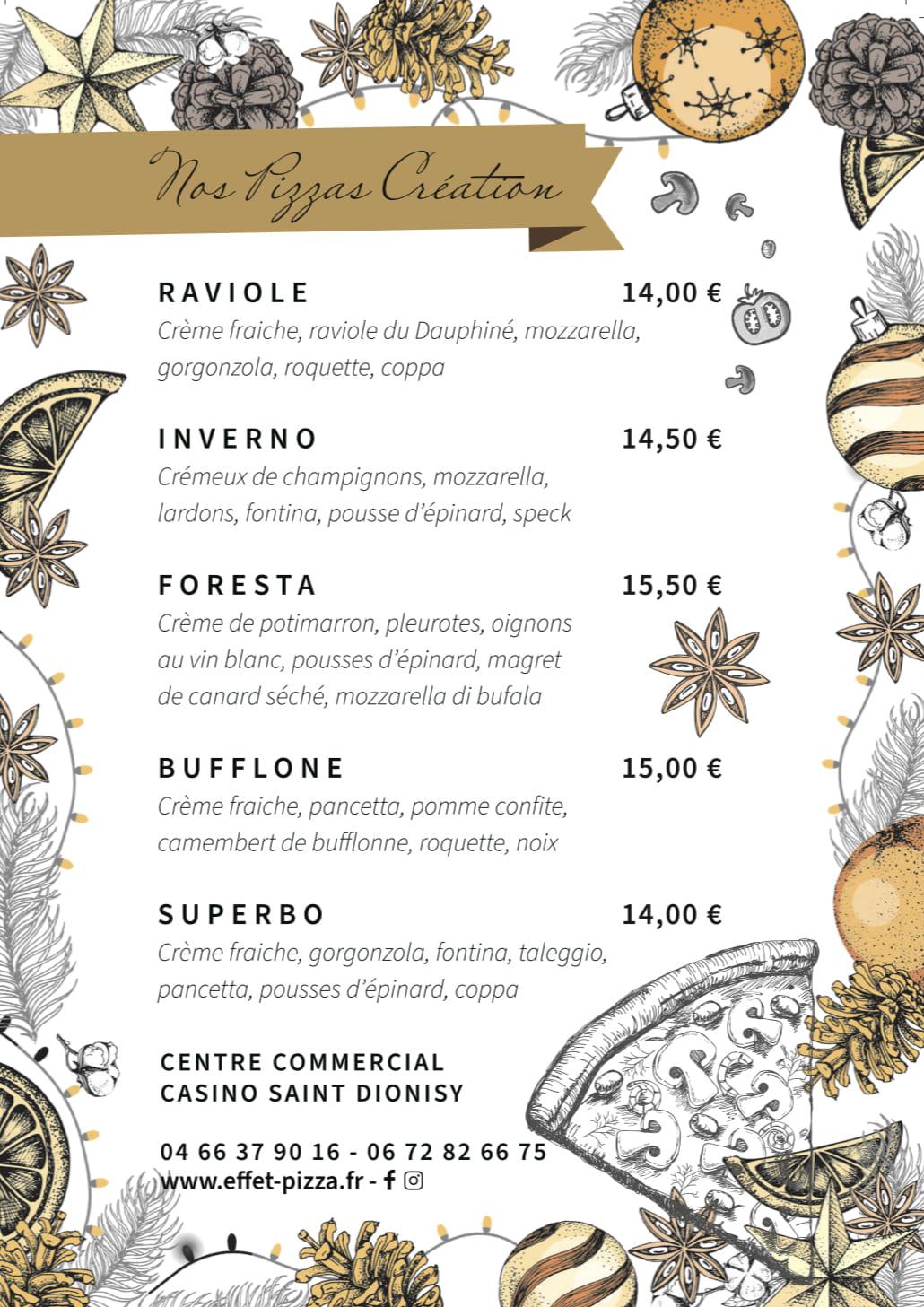 La carte des pizzas de saison d'Effet Pizza.
